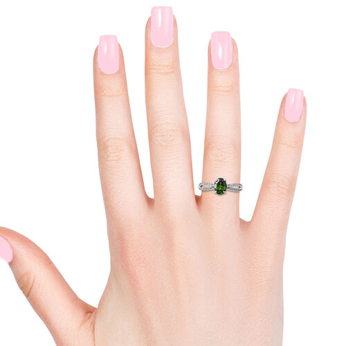 Russian Diopside (Ovl 1.20 Ct), Natural White Cambodian Zircon Ring in Rhodium Overlay Sterling Silver 1.434 Ct.