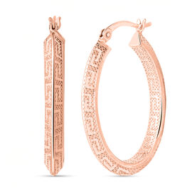 Greek Key Hoop Earrings in Rose Gold Plated Sterling Silver