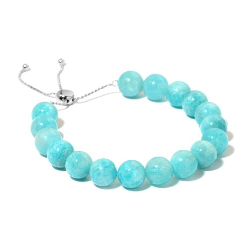 AAA Russian Amazonite Adjustable Bracelet (Size 7 to 10) in Rhodium Plated Sterling Silver 120.000 Ct.