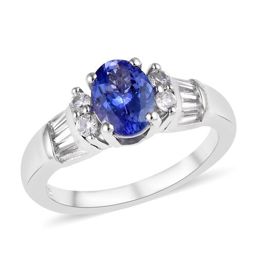 1.65 Ct Premium Tanzanite and Cambodian Zircon Ring in Platinum Plated Silver