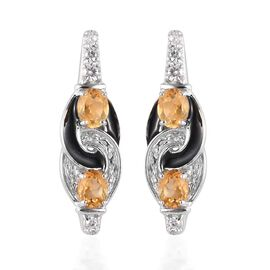 AA Citrine and Natural Cambodian Zircon Fancy Earrings (with Push back) in Platinum Overlay Sterling