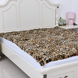 Super Luxury - Edition Super Soft Reversible Faux Fur Mink Leopard Pattern Blanket (Size 200x150 cm)