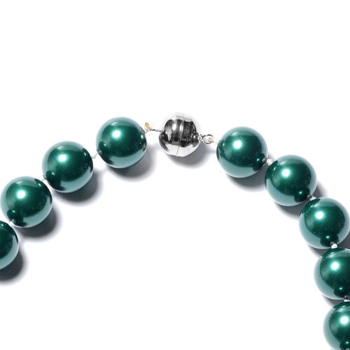 Russian Diopside Colour Shell Pearl (Rnd 15-17mm) Necklace (Size 20) in Rhodium Overlay Sterling Silver with Magnetic Lock
