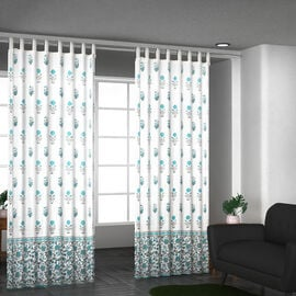 Set of 2 - Floral Printed Cotton Curtain with Tie Back Loops (Size 110x245cm) - White, Teal & Grey