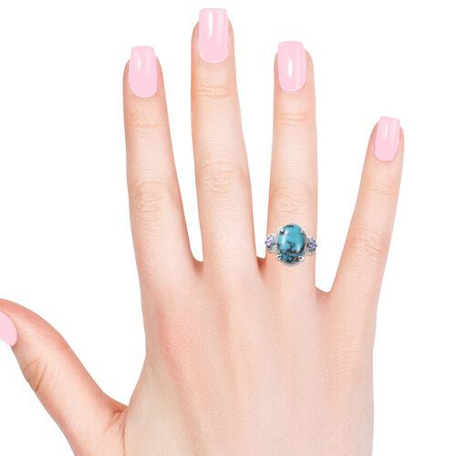 Anhui Turquoise (Ovl 16x12 mm), Tanzanite Ring in Rhodium Overlay Sterling Silver 7.23 Ct.