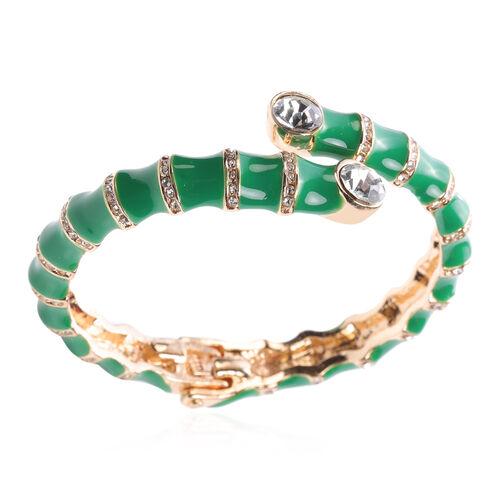 White Austrian Crystal, Green Enamelled Cuff Bangle (Size 7)