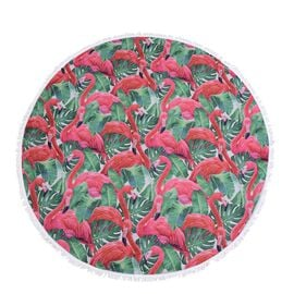 Pink, Green and Multi Colour Flamingo Pattern Microfiber Round Towel with Fringes (Size 150 Cm)
