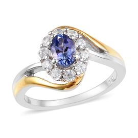 Tanzanite (Ovl 6x4mm), Natural Cambodian Zircon Ring in Platinum and Yellow Gold Overlay Sterling Si