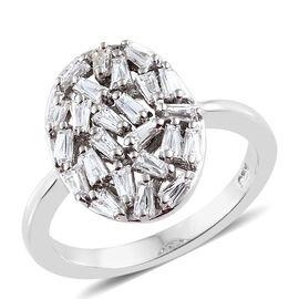 J Francis - Platinum Overlay Sterling Silver (Bgt) Firecracker Ring Made With SWAROVSKI ZIRCONIA
