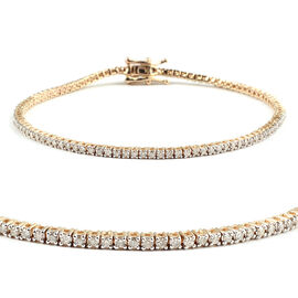 OTO- New York Close 14K Yellow Gold Diamond (Rnd) (I2/G-H) Bracelet (Size 7) 1.000 Ct