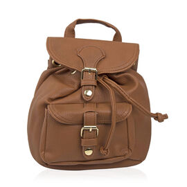 Designer Inspired- Tan Colour Backpack (Size 20x17x10 Cm)