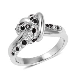 RACHEL GALLEY Boi Ploi Black Spinel (Rnd) Knot Ring in Rhodium Overlay Sterling Silver Silver wt 5.34 Gms.