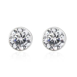 Super Auction - ELANZA Simulated Diamond (Rnd 5mm) Stud Earrings (with Push Back) in Sterling Silver