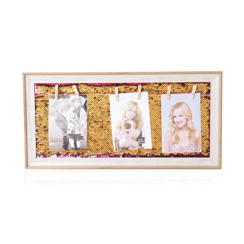 Photo Frame with Double Sided Sequin Background (Size 49x24 Cm) - Colour White Wood, Rose Pink and Gold