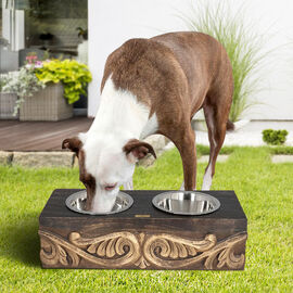NAKKASHI, Hand Carved, Mango Wood Pet Feeder with Stainless Steel Bowls ( Size 48X 20 X 12.5H) - Dar