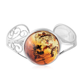 Baltic Amber Bangle (Size 7) in Sterling Silver, Silver wt 20.00 Gms