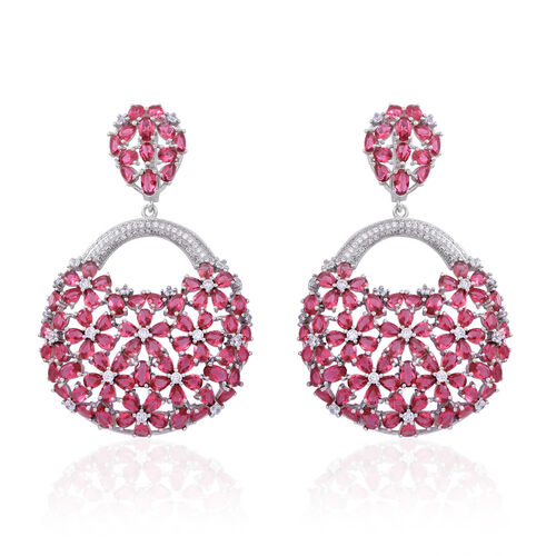 Red Carpet Collection- ELANZA Simulated Ruby (Ovl), Simulated White Diamond Floral Earrings in Rhodium Plated Sterling Silver