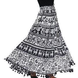 100% Cotton Mandala Print Boho Long Skirt with Tassels (Size 101.5x94cm) - Black and White