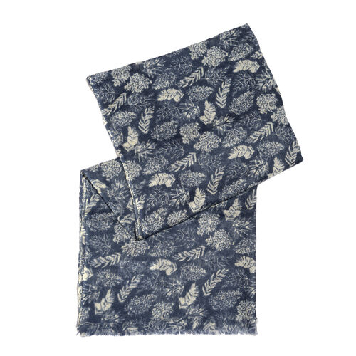 100% Merino Wool Dark Blue and Off White Colour Leaves Pattern Scarf with Fringes (Size 170X70 Cm)