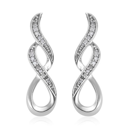 0.15 Ct Diamond Infinity Symbol Earrings in Platinum Plated Sterling Silver