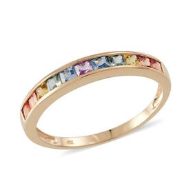 9K Yellow Gold Rainbow Sapphire (Sqr) Half Eternity Band Ring 1.25 Ct.