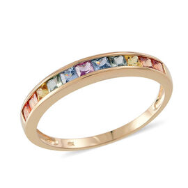 1.25 Ct Rainbow Sapphire Half Eternity Band Ring in 9K Gold 2 Grams