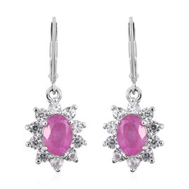 Rare Size 3.75 Ct Ilakaka Pink Sapphire and Zircon Halo Drop Earrings in Platinum Plated Silver