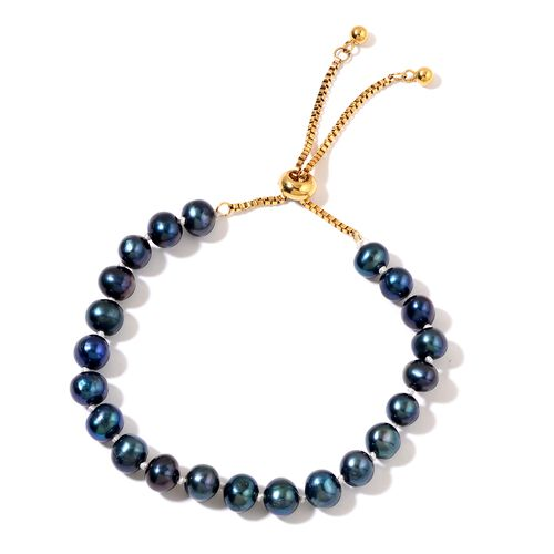 Fresh Water Peacock Pearl (7-8mm) Adjustable Beads Bracelet (Size 6 to 8.5 Inch)