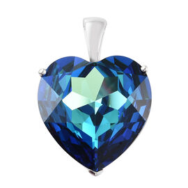 Limited Availability - Crystal from Swarovski - Indicolite Colour Crystal (Hrt 28mm) Pendant in Sterling Silver, Silver wt 5.98 Gms.