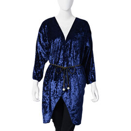 Limited Edition: Deluxe Royal Blue Crushed Velvet Long Kimono with Glass Pearl Golden Belt  (Free Size)