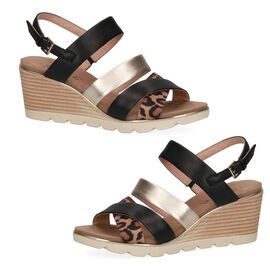 Caprice Leather Animal Print Wedge Sandal