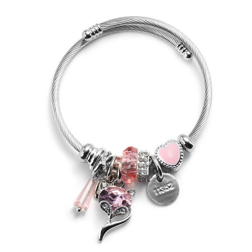 2 Piece Set - Simulated Rose Quartz, Simulated Ruby and Multi Colour Gemstone Multi-Charm Adjustable Enamelled Bracelet (Size 6-7.5) in Silver Tone