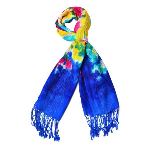 100% Wool Blue, Yellow and Multi Colour Scarf with Tassels (Size 190X65 Cm)