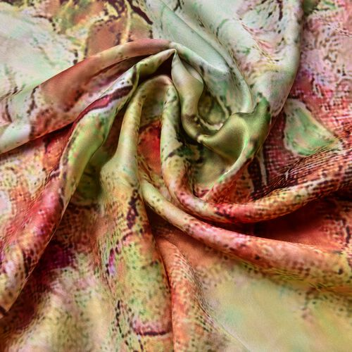 Orange, Pink and Multi Colour Floral Pattern Square Shape Scarf (Size 110X110 Cm)