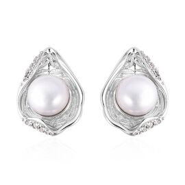 Fresh Water White Pearl (2.75 Ct),White Zircon Sterling Silver Earring  2.800  Ct.