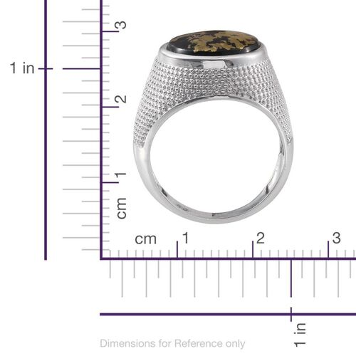 Goldenite (Rnd) Solitaire Ring in Platinum Overlay Sterling Silver 6.500 Ct. Silver wt 9.48 Gms.
