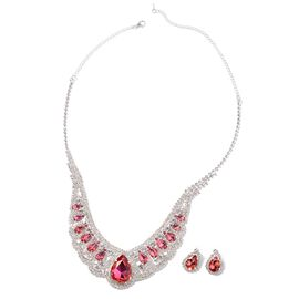 2 Piece Set - Simulated Rubellite (Pear), White Austrian Crystal Necklace (Size 18 with 4 inch Exten