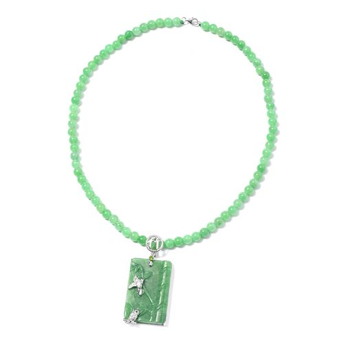 Bamboo and Bird Carved Green Jade and Multi Gemstone Necklace (Size 18) in Rhodium Overlay Sterling