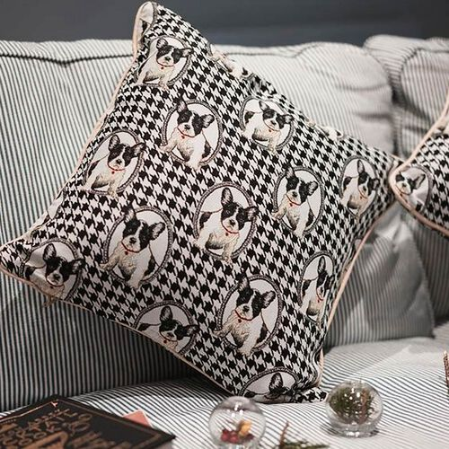 Signare French Bulldog Pattern Cushion Cover  (45x45 cm)