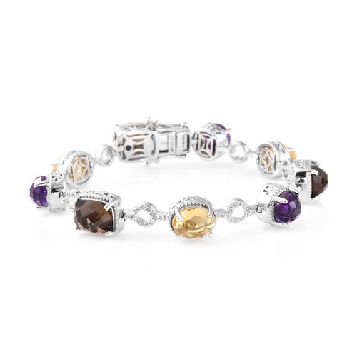 GP Brazilian Smoky Quartz (Cush), Amethyst and Multi Gemstone Bracelet (Size 7.5) in Platinum Overlay Sterling Silver 22.000 Ct, Silver wt. 20.28 Gms