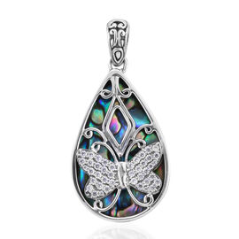 Bali Legacy Collection - Natural Cambodian Zircon and Abalone Shell Butterfly Pendant in Sterling Si