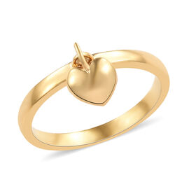 14K Gold Overlay Sterling Silver Band Ring with Heart Charm