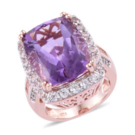 14.75 Ct Rose De France Amethyst and Cambodian Zircon Halo Ring in Rose Gold Plated Sterling Silver