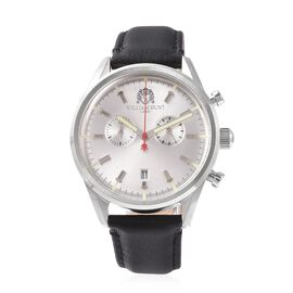 WILLIAM HUNT Swiss Movement Water Resistance Watch in Stainless Steel with Black Leather Strap