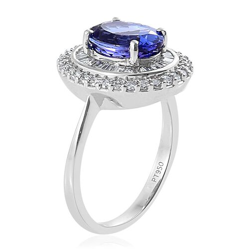 RHAPSODY 950 Platinum AAAA Tanzanite (Ovl 2.00 Ct), Diamond (VS/E-F) Ring 2.500 Ct.