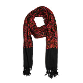 100% Merino Wool Black and Red Colour Embroidered Shawl (Size 190x70 Cm)