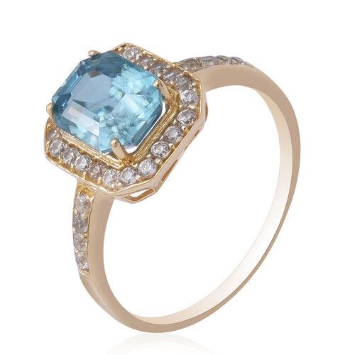 9K Yellow Gold Ratanakiri Blue Zircon and Natural Cambodian Zircon Ring 4.24 Ct.