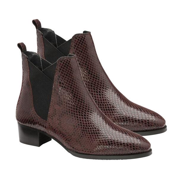 Ravel Bordo Loburn Snake-Print Leather Ankle Boots (Size 5)