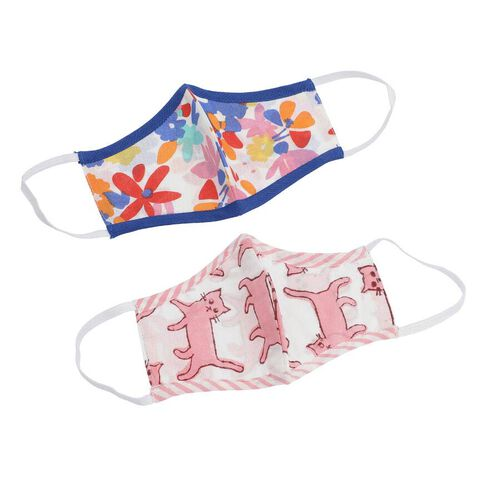 2 Piece Set - 100% Cotton Hand Block Printed Flower and Cat Double Layer Reusable Kids Face Cover - Pink and Multi