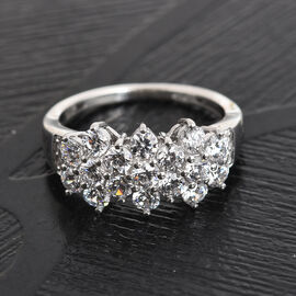 J Francis - Platinum Overlay Sterling Silver Ring Made with SWAROVSKI ZIRCONIA 2.79 Ct.